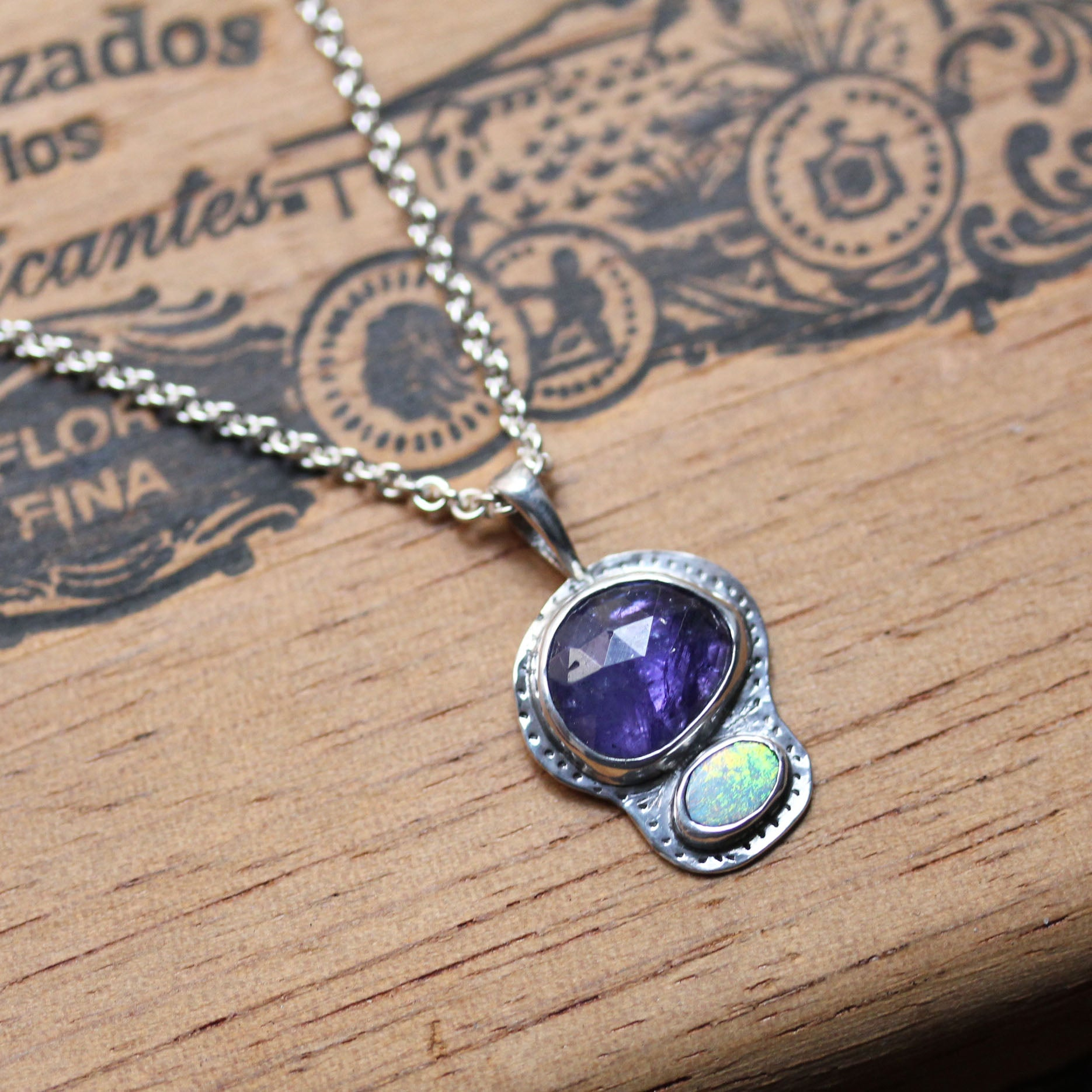 Freeform Tanzanite and Opal Necklace