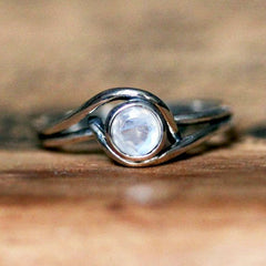 White Gold Mini Pirouette Ring with Moonstone