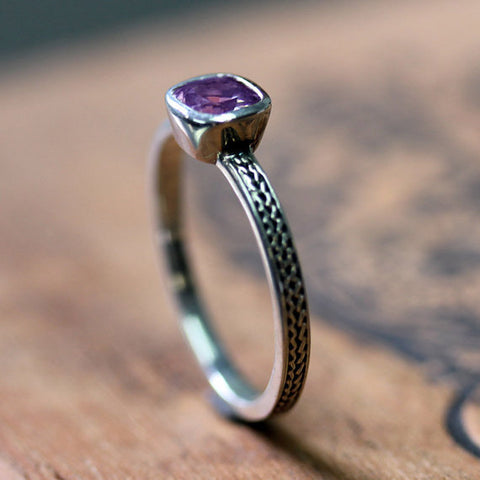 Purple amethyst ring in recycled sterling silver-handmade-ethnic2
