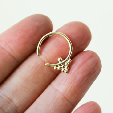 14k yellow gold tiny hoop earring