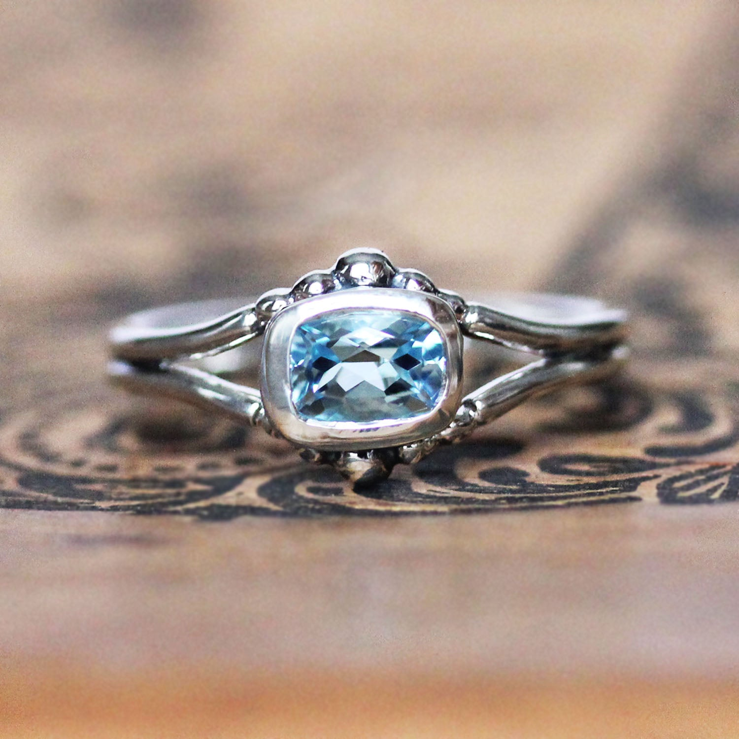 Air Ring - Silver and Aquamarine