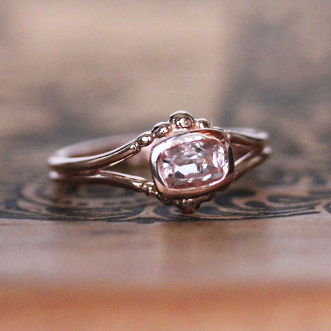 Rose Gold Morganite Air Ring - size 7.5