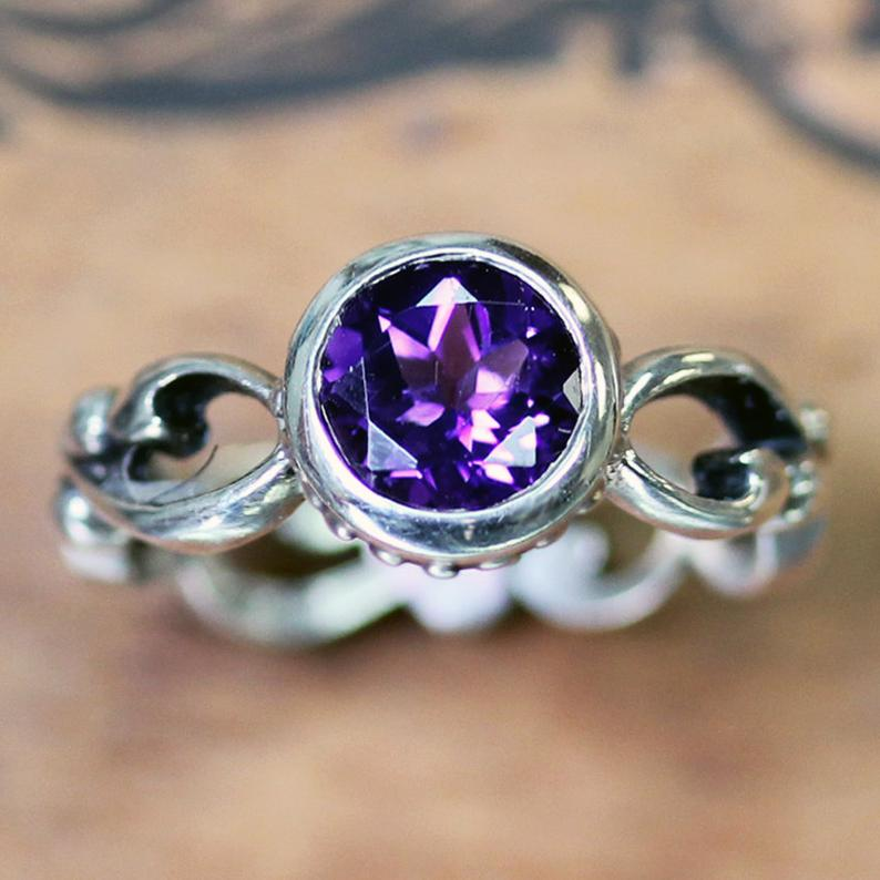 Amethyst Wrought Ring Set