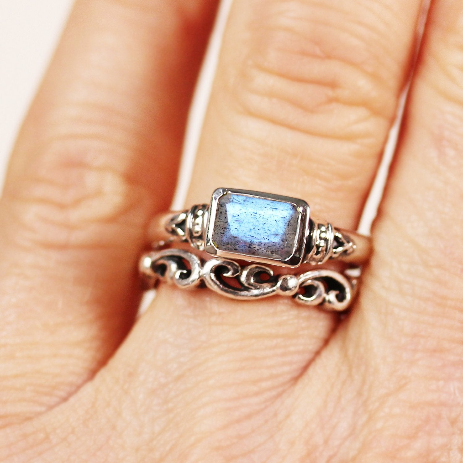Labradorite, Emerald Cut Ring, Anne Brontë, Ready To Ship Size 6.5