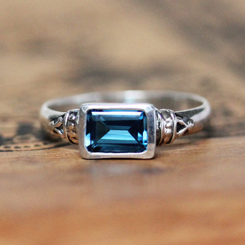 London Blue Topaz Emerald Cut Ring, Anne Brontë