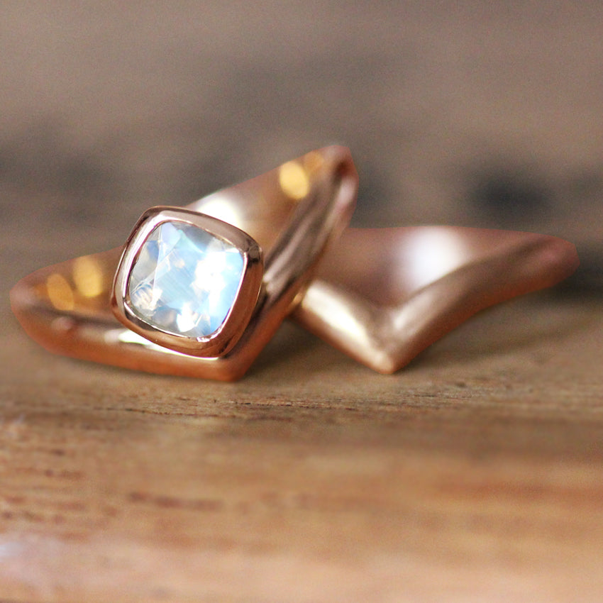 Rose Gold Rainbow Moonstone Engagement Ring Set, Arrow