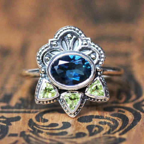 Topaz and Peridot Multi Stone Ring in Sterling Silver, Athena