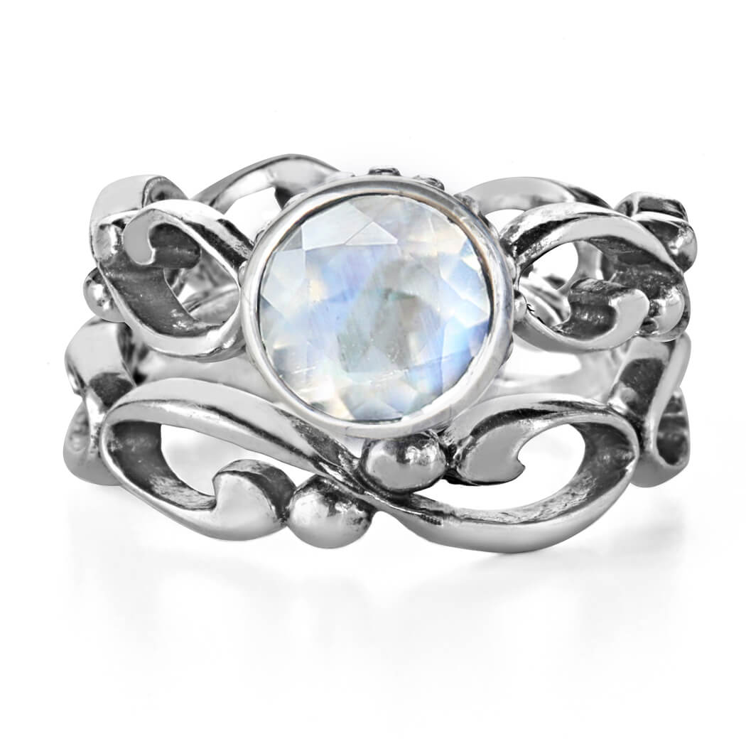rainbow moonstone bridal set with open infinity details