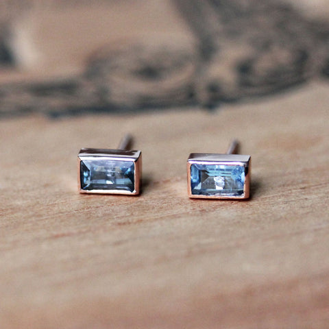 Aquamarine Baguette Stud Earrings, 14k rose gold