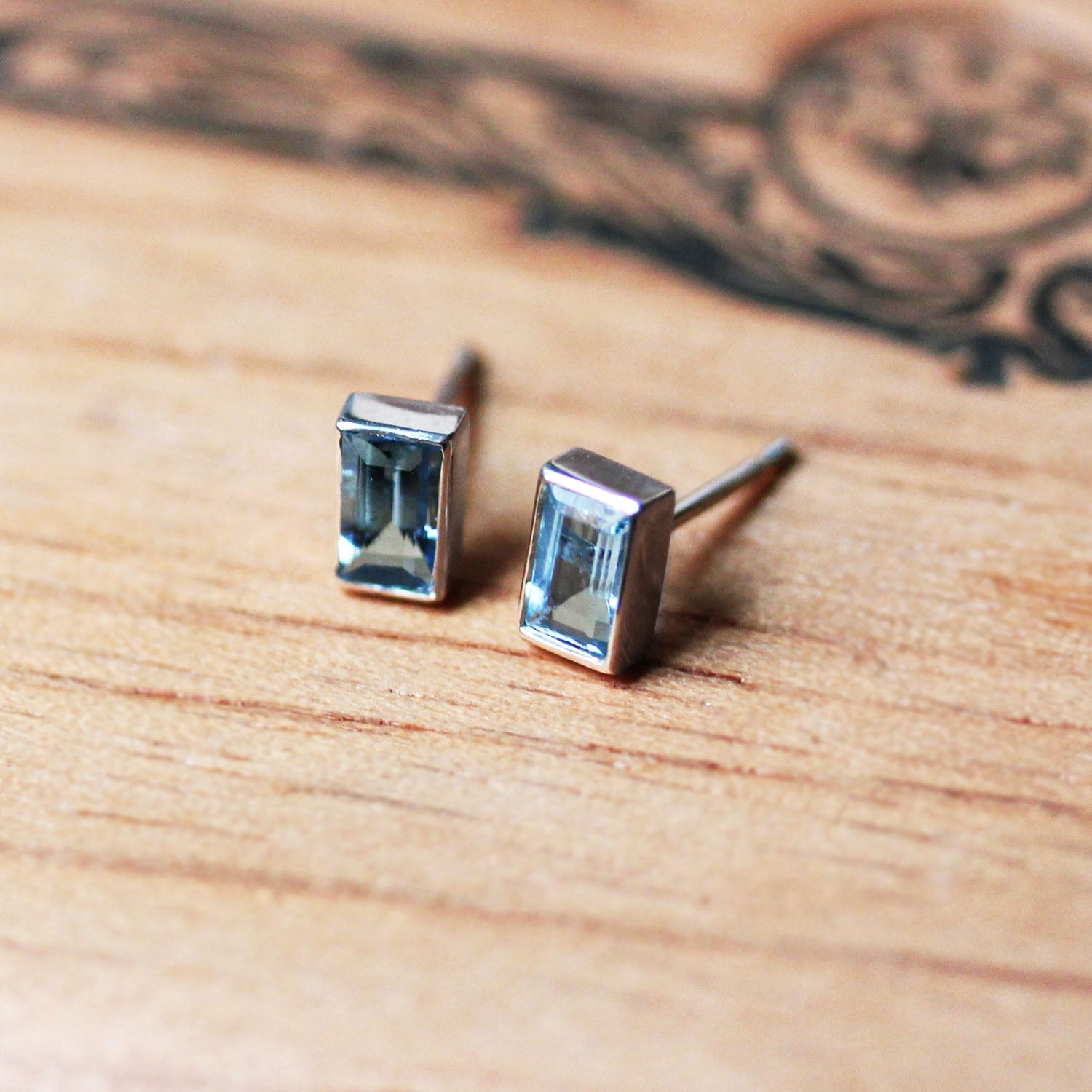 Aquamarine Baguette Stud Earrings, Sterling silver