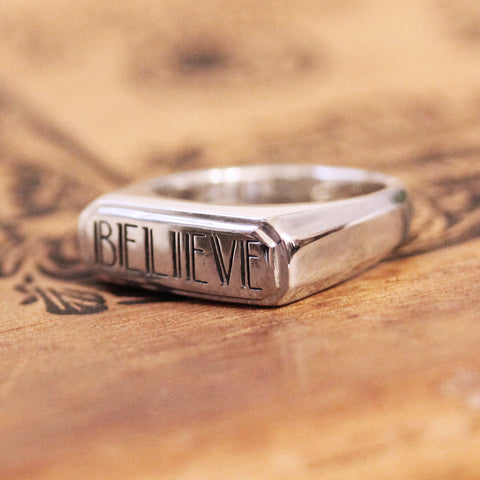 Believe Ring, Engraved Sterling Silver
