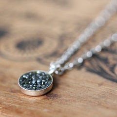 "Black Diamond and sterling silver necklace, 18"" length"
