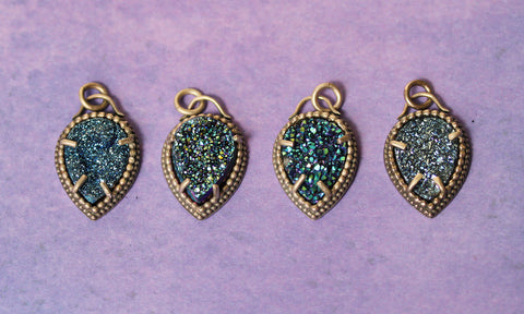 Assorted Blue Druzy Necklaces, One Of A Kind