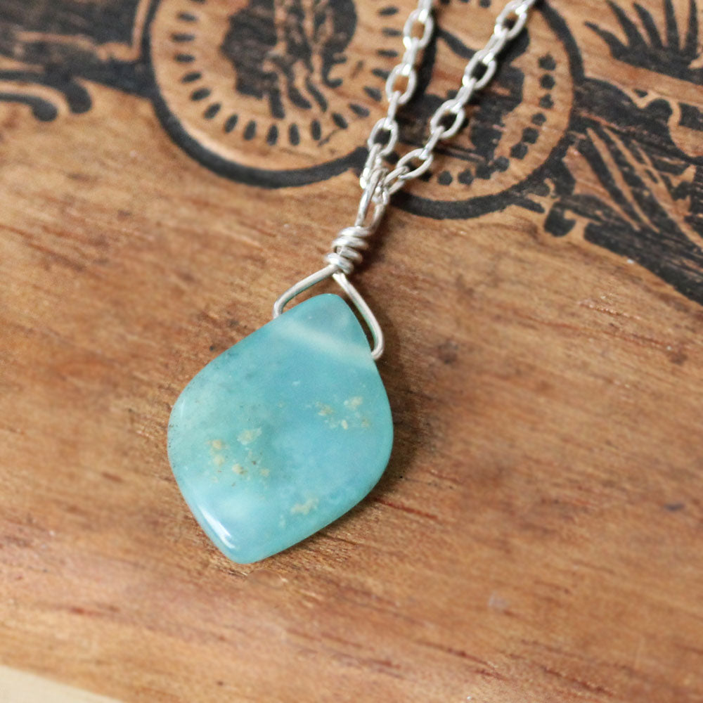 "Peruvian Blue Opal Necklace #6, 20"" length"