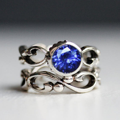 Chatham Sapphire Engagement Ring Set, Wrought Infinity
