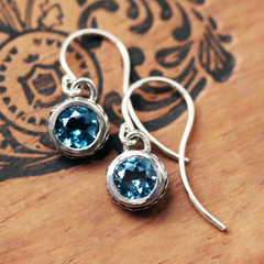 London Blue Topaz Bezel Earrings, Wheat Drop Earrings