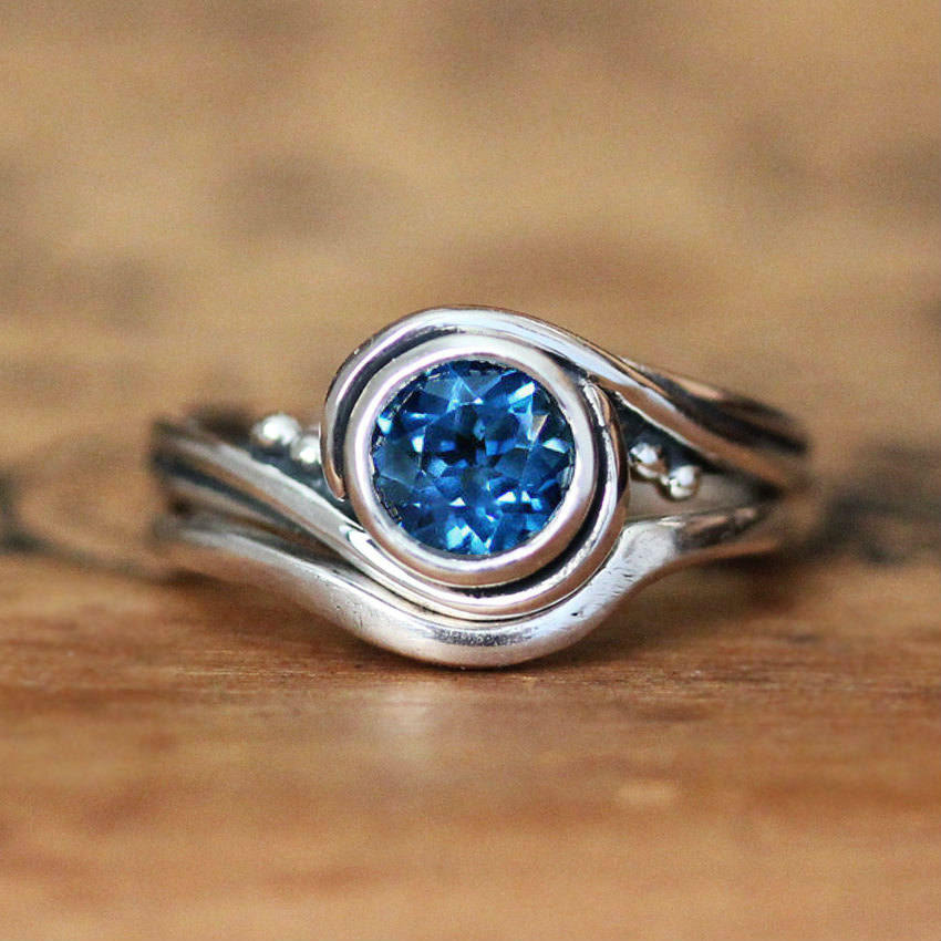 London Blue Topaz Engagement Ring Set, Pirouette