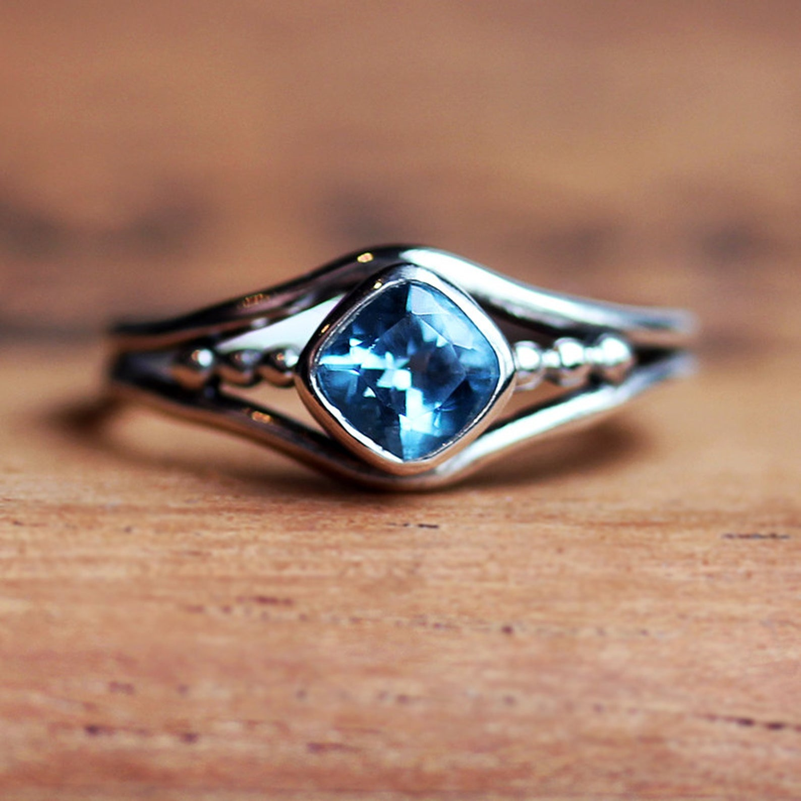 Blue Topaz Birthstone Ring, size 5.5