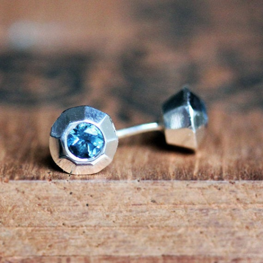 Tiny Modern Blue Topaz Stud Earrings