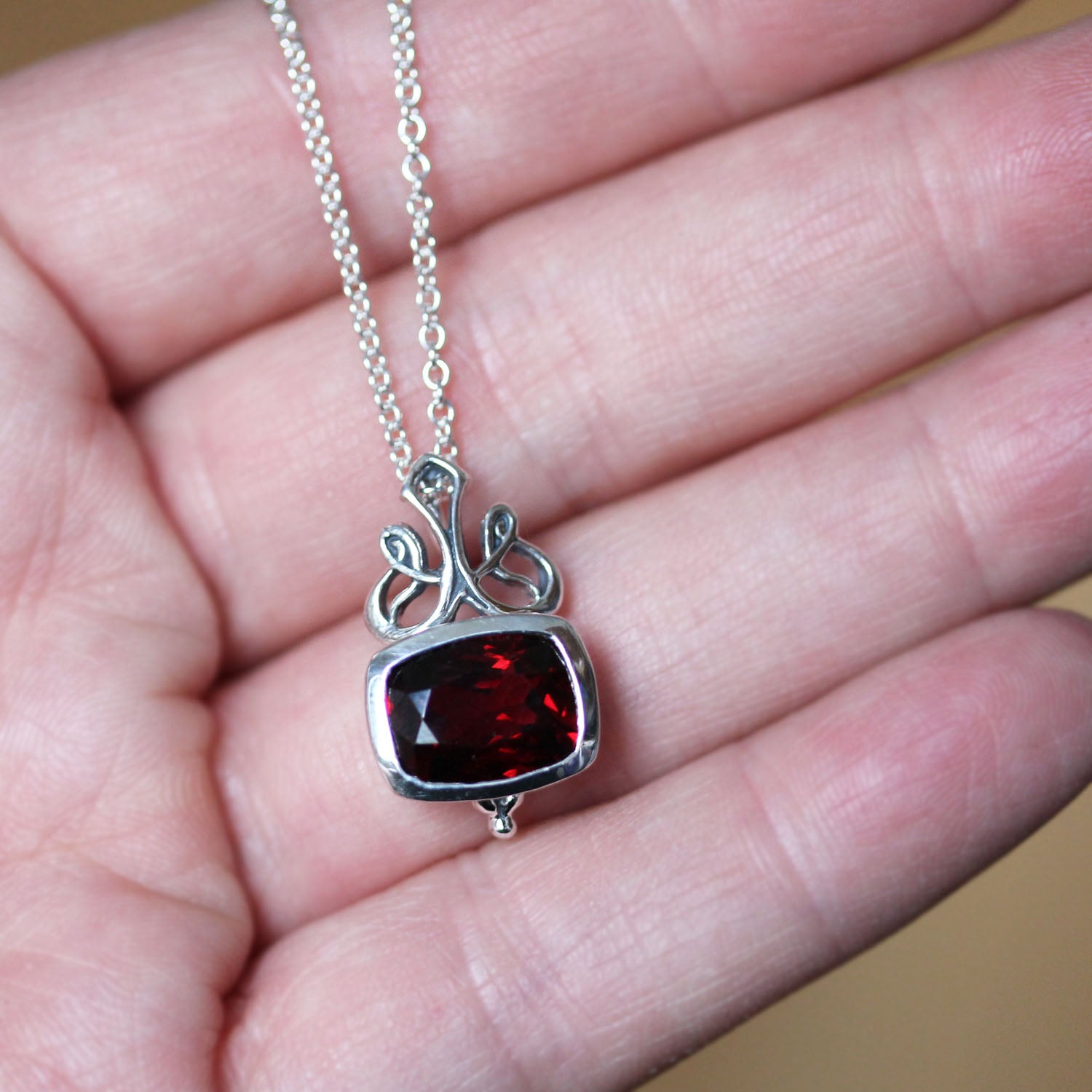 Victorian Garnet Cushion Bezel Necklace, Brontë