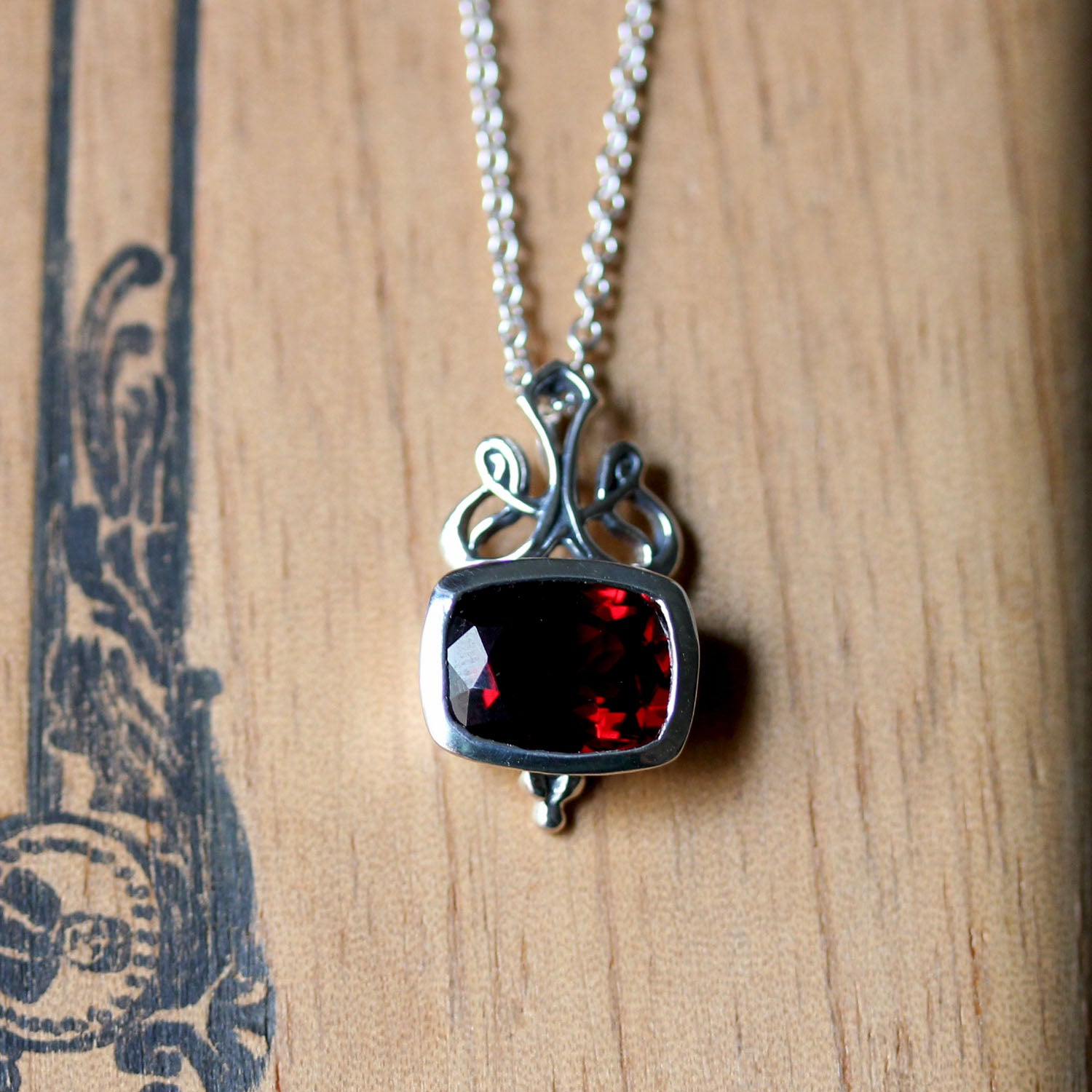 Brontë Victorian Garnet Cushion Bezel Necklace