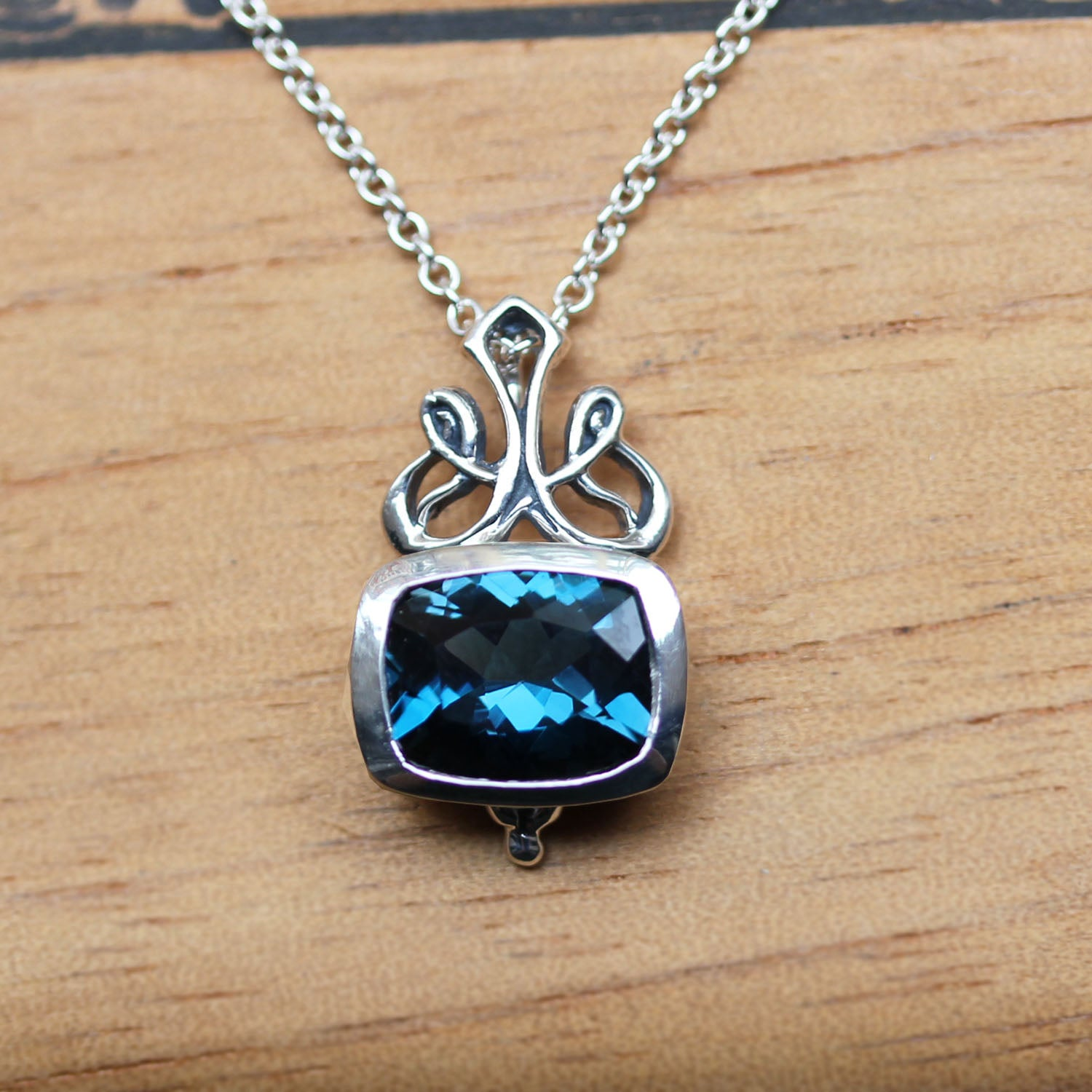 Brontë Victorian London Blue Topaz Cushion Necklace