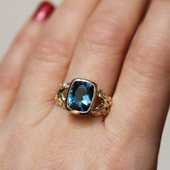 Gold Brontë Victorian London Blue Topaz Ring
