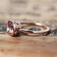 14k Rose Gold Morganite Ring, Emily Brontë