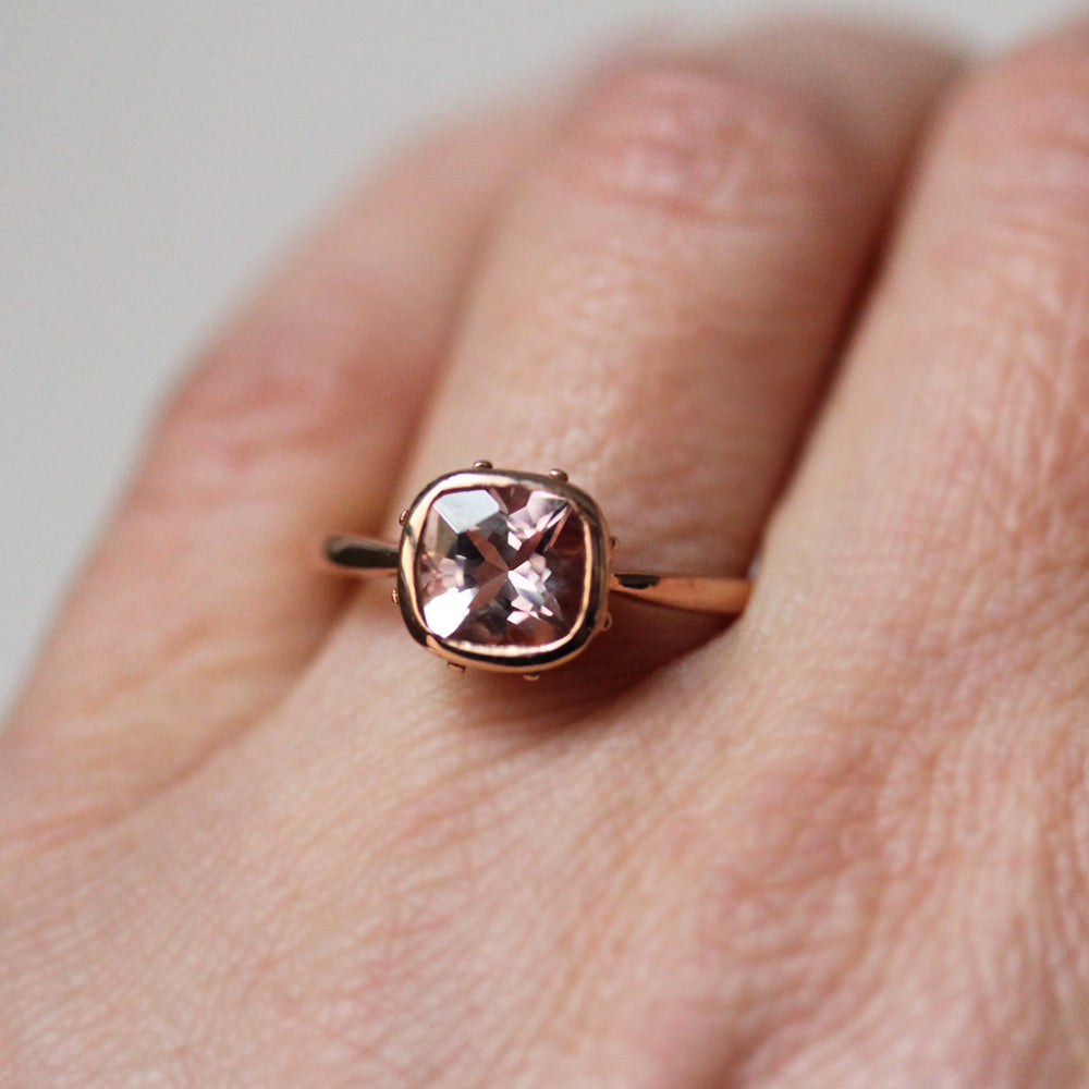 14k Rose Gold Vintage Style Morganite Ring Handcrafted Jewelry