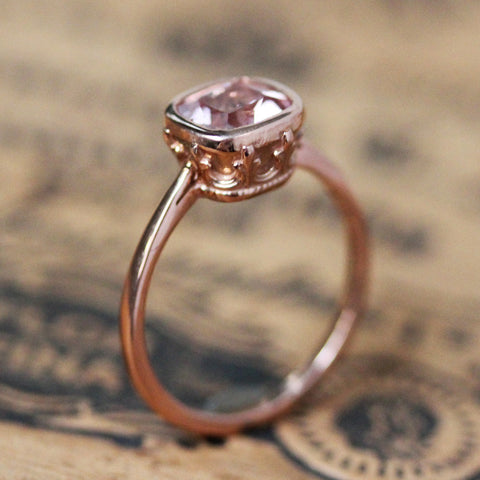 Rose gold vintage style ring with pale pink cushion morganite.