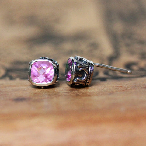 Brontë Stud Earrings, Pink Tourmaline