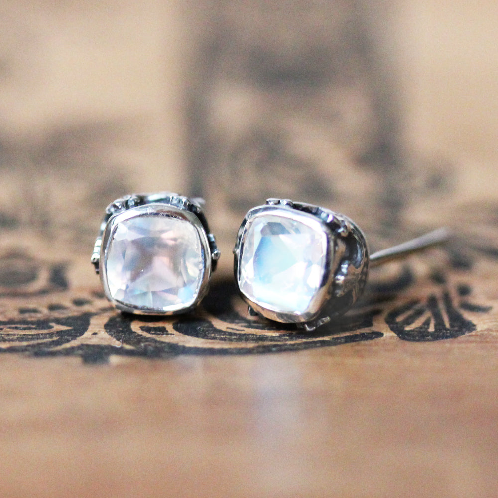 oxidized moonstone stud earrings