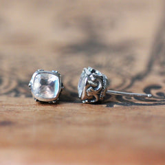 sterling silver moonstone stud earrings with filigree profile