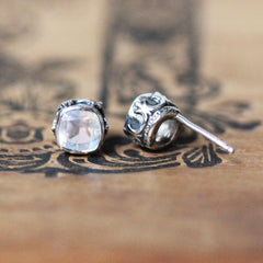 sterling silver moonstone stud earrings with filigree detail