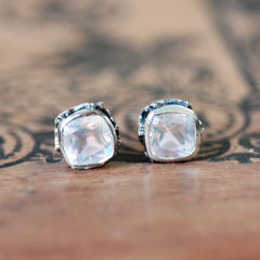 cushion shaped rainbow moonstone stud earrings
