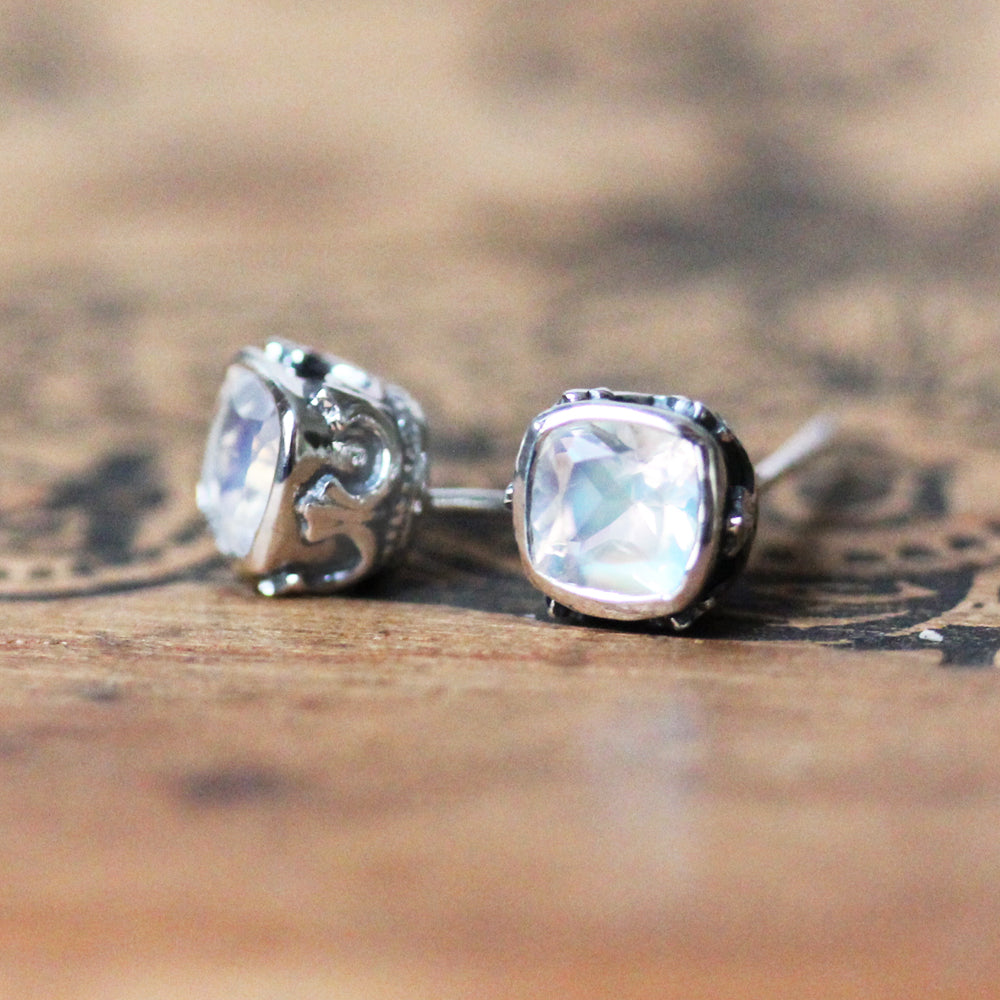side view of filigree moonstone stud earrings
