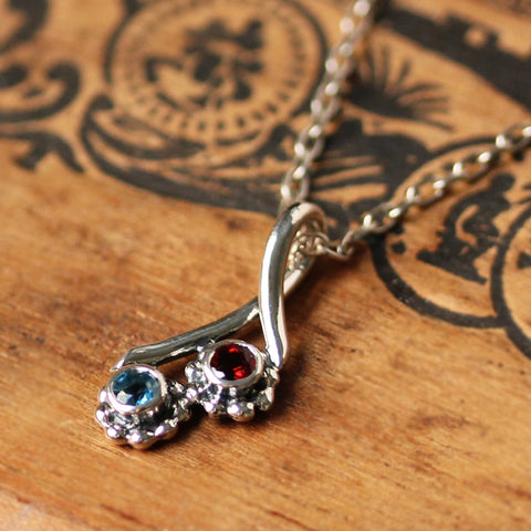 Birthstone Bud Duo Necklace, 2 stone mothers necklace