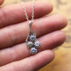 Birthstone Bud Quad Necklace, 4 stone mothers necklace