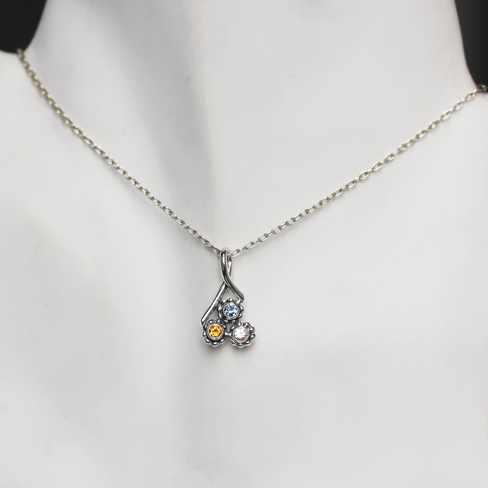 Birthstone Bud Trio Necklace, 3 stone mothers necklace