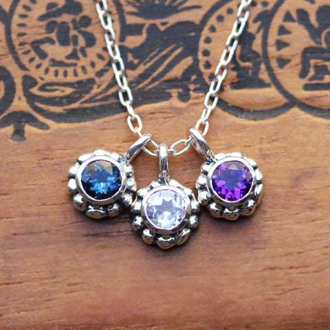 Triple Birthstone Blossom Necklace