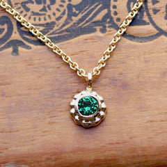 Yellow Gold Tsavorite Garnet Flower Necklace