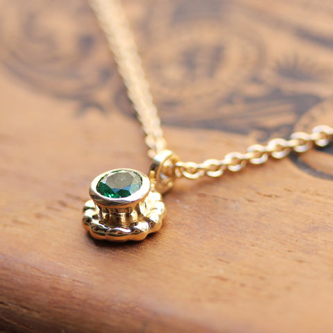Yellow Gold Birthstone Flower Necklace