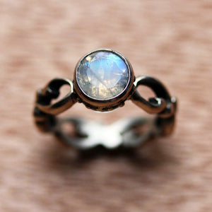 #2A Rainbow Moonstone-Sterling-Silver-Wrought-Engagement-Set-3