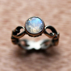 rainbow moonstone ring sterling silver