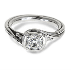 Silver Moissanite Engagement Ring, Pirouette