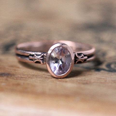 Rose gold and pink kunzite ring.