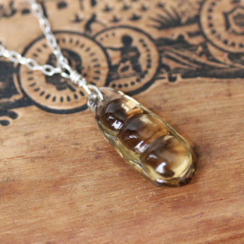 "Citrine Peapod Necklace #3, 19"" length"