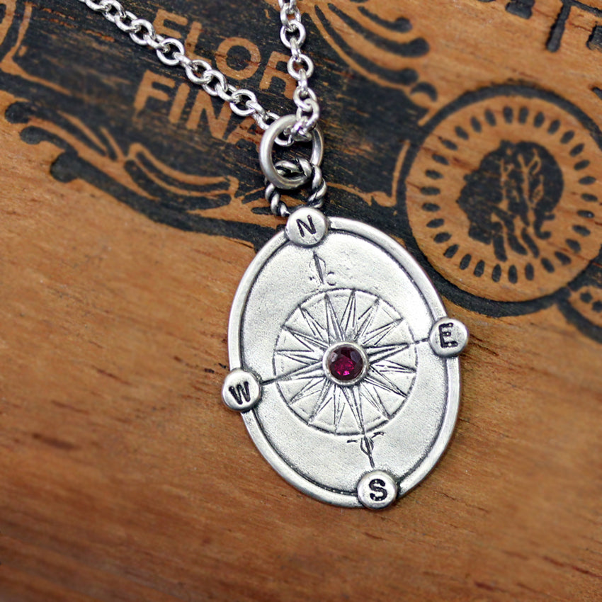 Sapphire Compass Rose Necklace, other gems available