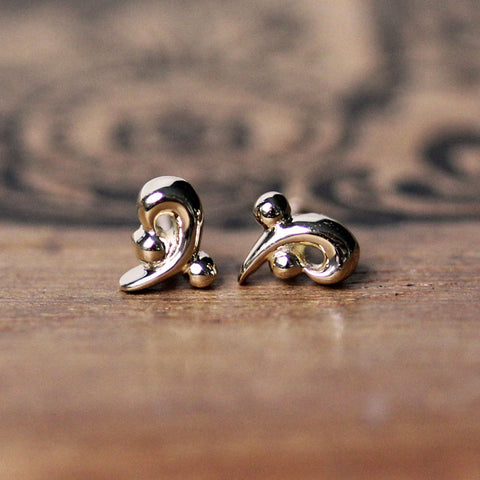 Gold Curl Stud Earrings, Water Dream