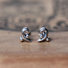 Water Dream Curl Stud Earrings, sterling silver